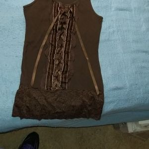 Girls sleeveless shirt, size medium, brown
